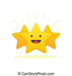 cliente, apartamento, illustration., dar, positivo, revisão, star., iconic, level., satisfação, vetorial, ilustração, design., concept., mínimo, realimentação