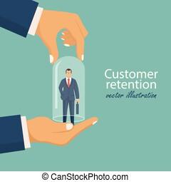 cliente, apartamento, ilustração, loyality., concept., coberturas, mão, vidro, vetorial, cliente, segurando, providiong, homem negócios, care., salvar, bulb., style., retenção