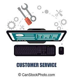 cliente, Apoyo, concepto, computadora, servicio