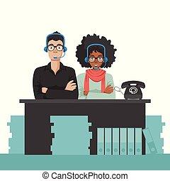 cliente, appartamento, affari, servizio, sostegno, technicians., illustrazione, vettore, concept., cura
