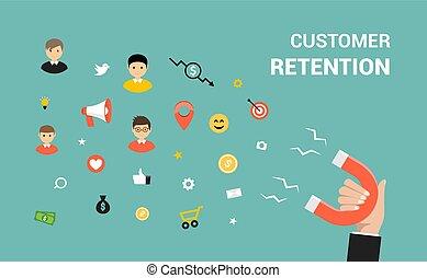 cliente, appartamento, concetto, bersaglio, web, marketing, strategia, vettore, design., ritenzione
