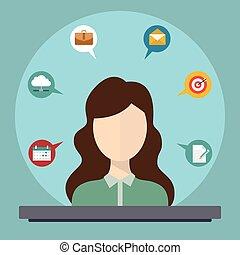 cliente, appartamento, concetto, servizio, icone, -, vettore, infographic, disegni elementi