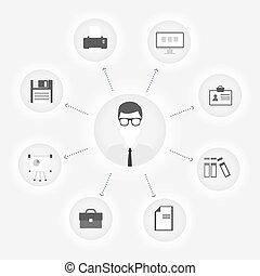 cliente, appartamento, concetto, ufficio, vettore