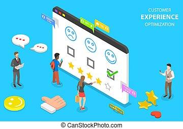 cliente, appartamento, isometrico, concetto, esperienza, vettore, optimization, crm