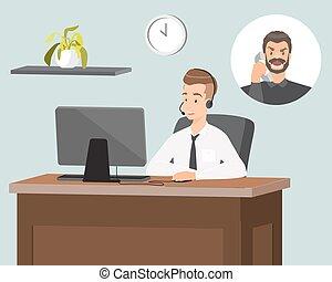 cliente, appartamento, servizio, illustrazione, vettore, rappresentante