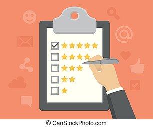 cliente, appartamento, stile, concetto, feedback, controllo, -, esso, vettore, marchio, appunti, cinque, stelle, mano