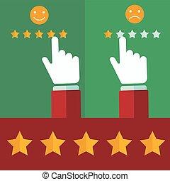 cliente, appartamento, stile, positivo, revisione, -, mano, vettore, scegliere, concetti, maschio