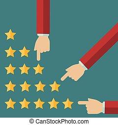 cliente, appartamento, stile, positivo, revisione, -, review., mano, vettore, scegliere, concetti, maschio