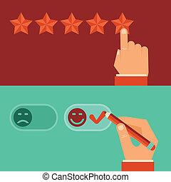 cliente, appartamento, stile, revisione, vettore, concetti