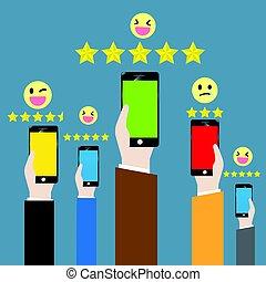 cliente, attraverso, feedback, canale, linea