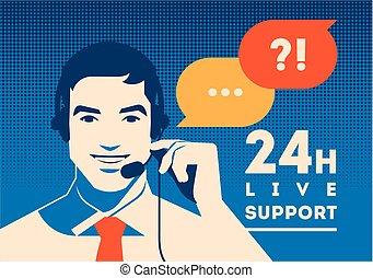 cliente, auriculares, apoyo, poster., centro, comunicación,...