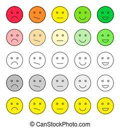 cliente, avaliação, realimentação, serviço, apartamento, review., cobrança, bonito, vário, icons., satisfaction., qualidade, sorrisos, emotions.