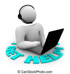 cliente, ayuda, conseguir, apoyo, -, persona