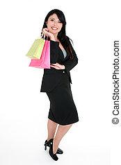 cliente, borse, sorridente, shopping
