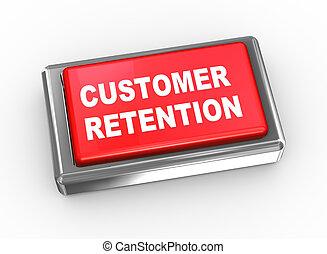 cliente, botão, 3d, retenção