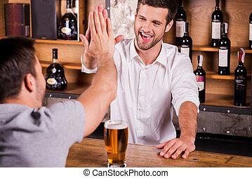 cliente, bueno, barman, Ver, Sentado, mostrador, él, again!,...