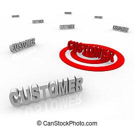 cliente, -, bulls-eye, escolha objectivos, palavra