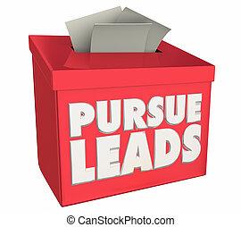 cliente, caixa, perspectivas, perseguir, cima, ilustração, chumbos, sugestão, seguir, 3d