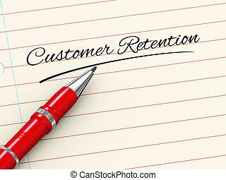 cliente, -, caneta, papel, retenção, 3d