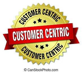 cliente, centric, oro, aislado, insignia, redondo