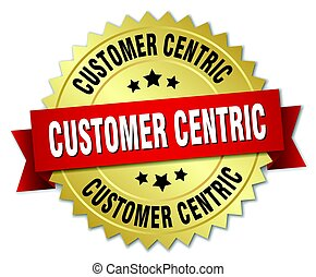 cliente, centric, oro, isolato, distintivo, rotondo