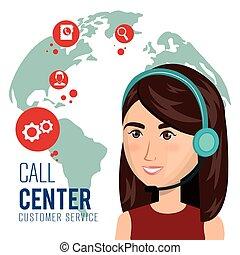 cliente, centro chiamata, servizio