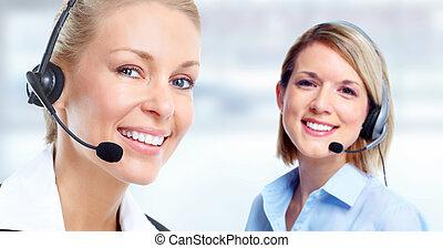 cliente, centro de la llamada, operator.
