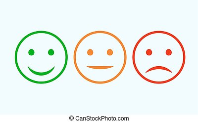 cliente, clasificación, emoticons, positivo, negative., set., smiley, aislado, mood., neutral, vector, verde, sonrisa, opinión, rojo, icono