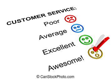 cliente, clasificación, impresionante, servicio