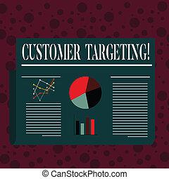 cliente, clienti, concetto, disposizione, lineare, colorito, targeting., processo, testo, grafico, diagram., torta, scrittura, affari, linea, disegno, piano, parola, sbarra, mercato, defines