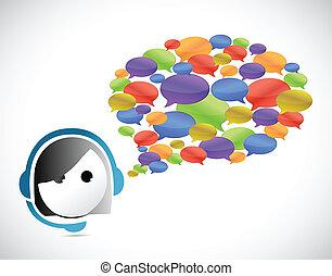 cliente, comunicação, conceito, serviço