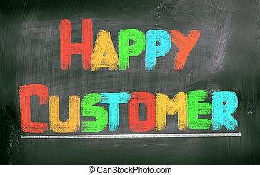 cliente, conceito, feliz
