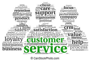 cliente, concepto, palabra, servicio, etiqueta, nube blanca
