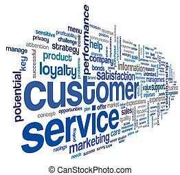 cliente, concetto, parola, nuvola, servizio