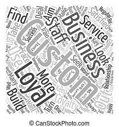 cliente, concetto, successo, affari, testo, lealtà, chiave, wordcloud, fondo
