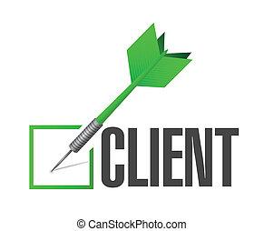 cliente, confira mark, dardo, ilustração, desenho