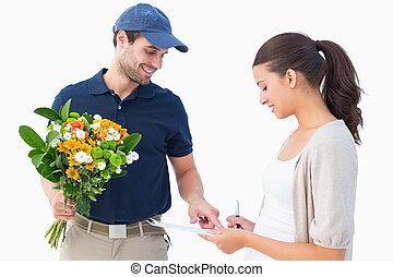 cliente, consegna, fiore, uomo, felice