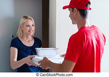 cliente, consegna, pizza, femmina, ricevimento, ordine, uomo