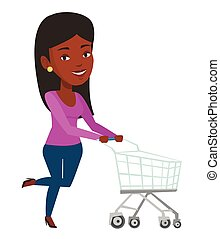 cliente, correndo, trolley., shopping