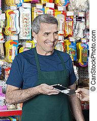 cliente, credito, aceptando, vendedor, pago, tarjeta