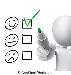 cliente, cuestionario, servicio, hombre, dibujado, 3d