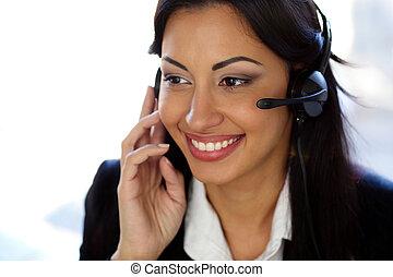 cliente, cuffia, sostegno, femmina, operatore, sorridente