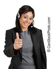 cliente, dar, apoio, polegares cima