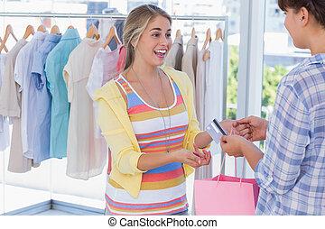 cliente, Dar, Caixa, cartão, crédito