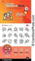 cliente, desenho, realimentação, ícones
