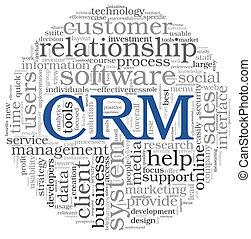cliente, dirección, palabra, relación, sistema, etiqueta, nube, crm