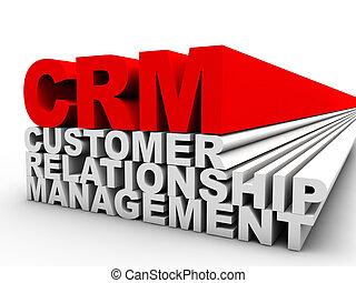 cliente, dirección, relación, encima, plano de fondo, rojo blanco, crm