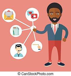 cliente, dirección, relación, -, ilustración, vector
