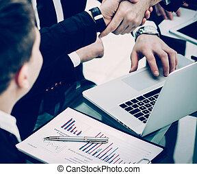 cliente, director, apretón de manos, discusión, financ, ...