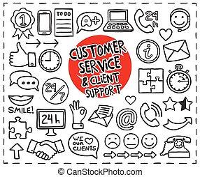 cliente, doodle, serviço, ícones